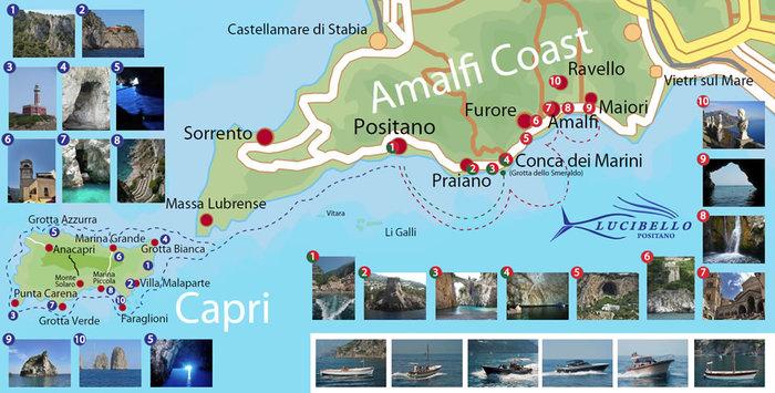 Карта Амальфитанского побережья, что посмотреть в окрестностях Амальфи