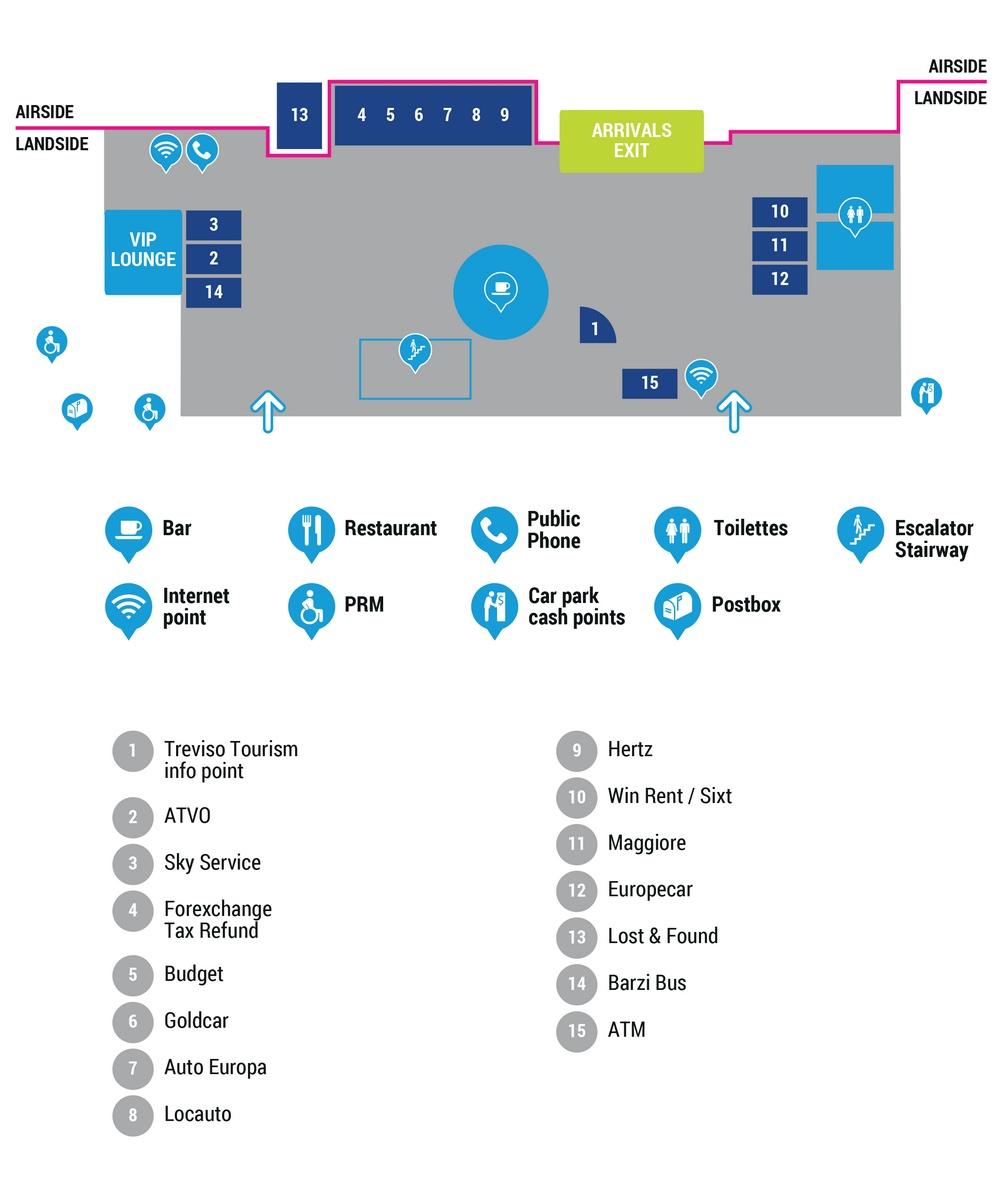 Схема терминала аэропорта Тревизо: 1 этаж