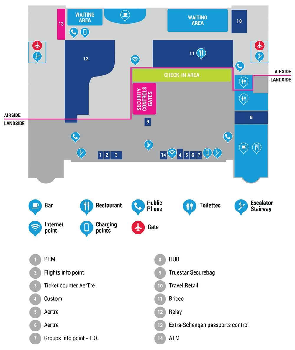 Схема терминала аэропорта Тревизо: 2 этаж