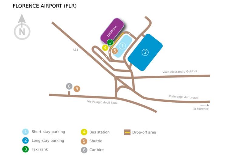 Терминалы аэропорта Флоренции: схема