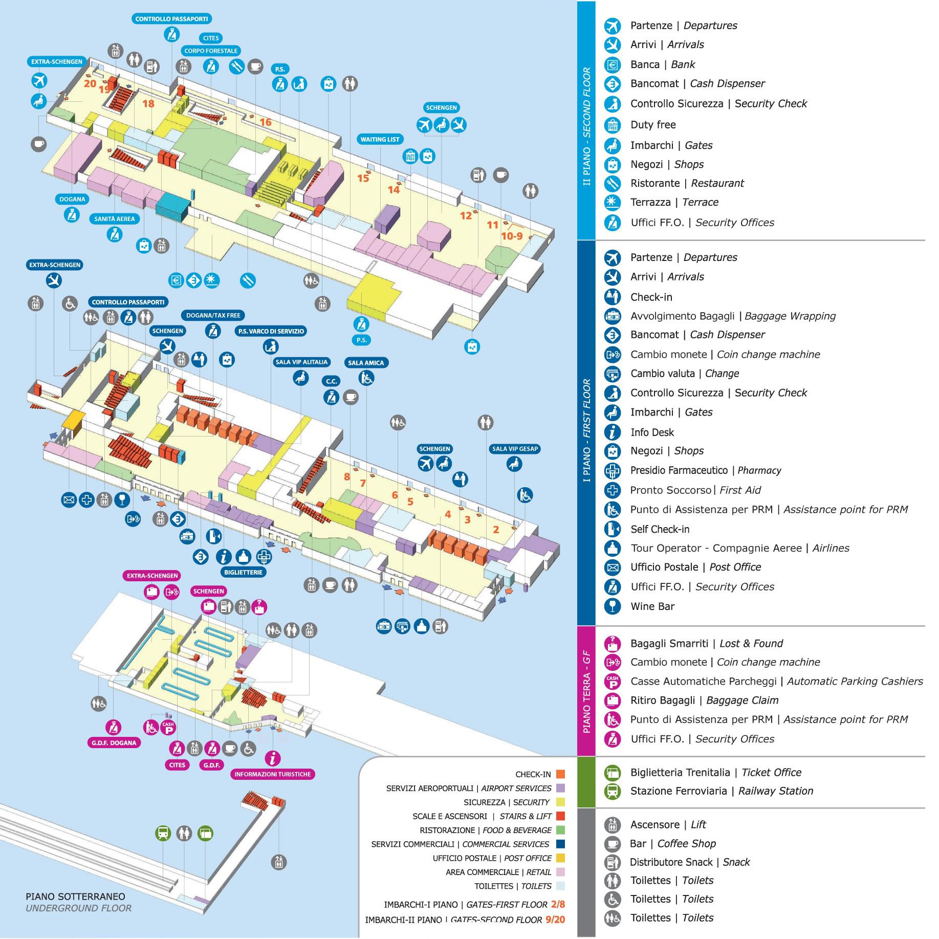 Схема терминалов аэропорта Палермо, Сицилия