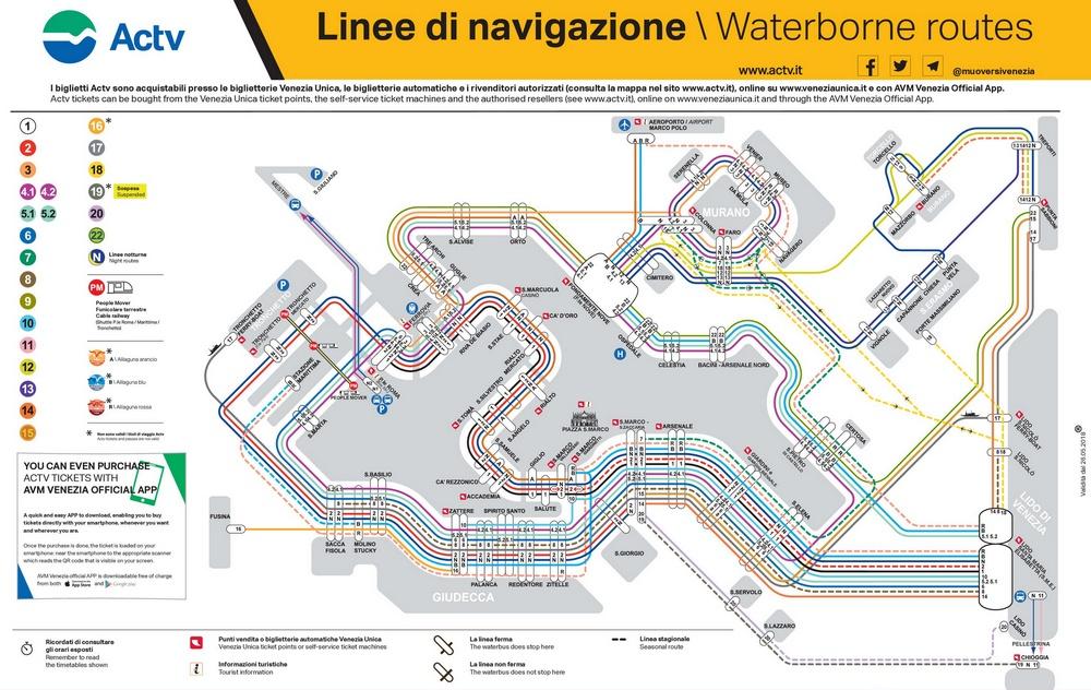 Схема движения ваппоретто Венеции компании Actv